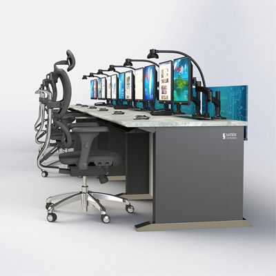 中控调度室电脑操作台